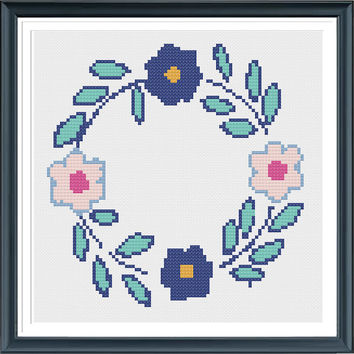 Counted Cross Stitch ,Wreath Cross Stitch Pattern,PDF File