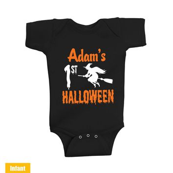 Custom made with Baby Name - 1st halloween witch - Infant Lap Shoulder Bodysuit