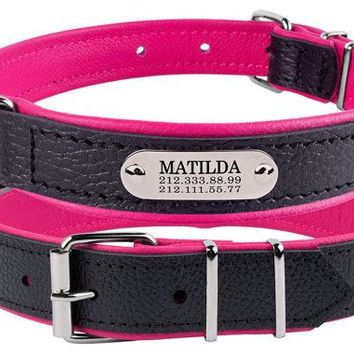 Personalized Custom Leather Dog Collars Laser Engraved