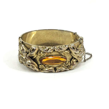 Wide Victorian Bangle, Whiting Davis Victorian Revival Bracelet, Topaz Cabochon, Goldtone Repousse, 1950s, Vintage Jewelry