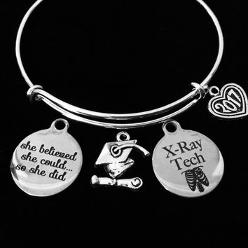 X-Ray Tech Graduation She Believed She Could Adjustable Bracelet RT Caduceus Radiation Technologist Expandable Charm Bangle Medical Gift