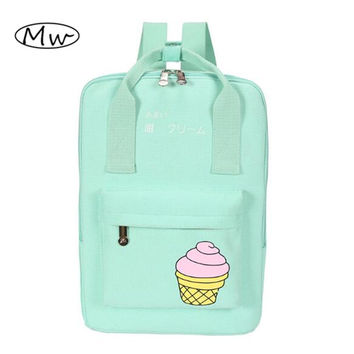 2016 Summer Fresh Ice Cream Printing Backpack Canvas Tote Backpack Cartoon Backpack For Girls Students School Bag Portable M217