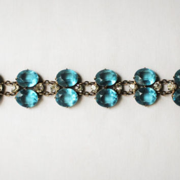 Beautiful Vintage Ocean Blue Rhinestone and Faux Diamond Bracelet