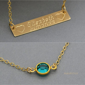 Gold Personalized Necklace, Birthstone Initial Necklace, Layered Gold Necklace, Double Strand Gold Necklace