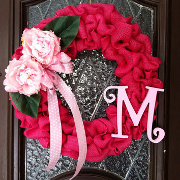 Spring Wreath, Burlap Spring Wreath, Personalized Spring Wreath, Personalized Burlap Wreath, Pink Spring Wreath, Easter Wreath