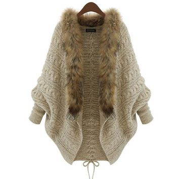 Women Cardigan Sweater Thick Poncho Capes Femme Autumn Winter Bat Sleeve Fur Collar Wool Sweater Knitted Long Cardigan 50