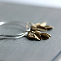 Small Hoop Earrings with Sterling Silver and Brass Leaf Charms - Fringe - Spring Fashion Modern Under 25 Gift