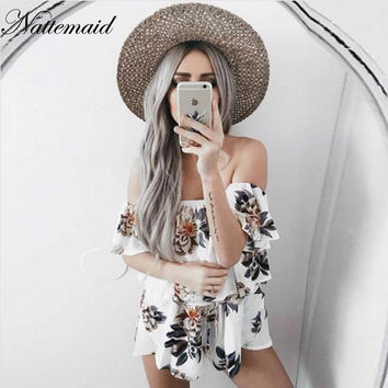2017 Summer Ruffles outfits Hot sale  flare Overalls Casaul slash neck bodysuit women  off shoulder jumpsuit floral Rompers