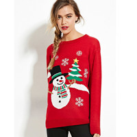 Red Christmas Tree and Snowflake Print Sweater