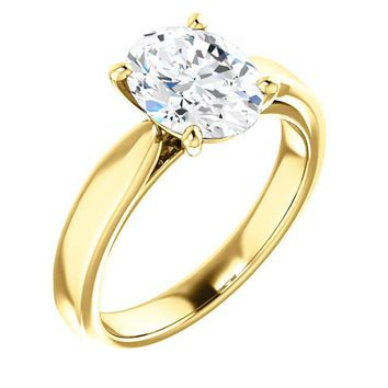 2.0 Ct Oval Ring 14k Yellow Gold