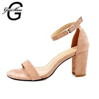 Women Summer 2 Inch Block Heel sandals With Ankle Strap Buckle Closure