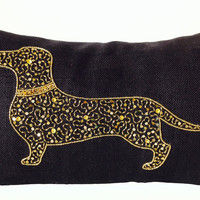 Burlap Pillow Cover Dog Pillows Dachshund Pillow Case Burlap Throw Pillows Black Gold