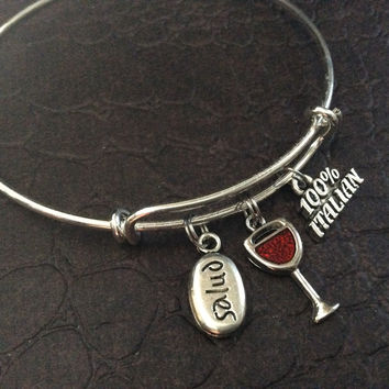100% Italian with Red Wine Glass and Stamped Salud Charm on Silver Expandable Adjustable Wire Bangle Bracelet Stacking Handmade Trendy Gift