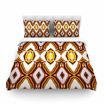 "Dawid Roc ""Inspired By Psychedelic Art 1"" Orange Pattern Featherweight Duvet Cover"