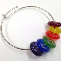 Gay Pride Bangle Bracelet, ART Teacher Gift, Handmade Jewelry,  Meditation Beads, Bangle Bracelet, Custom Colors, Fused Glass Donut Beads