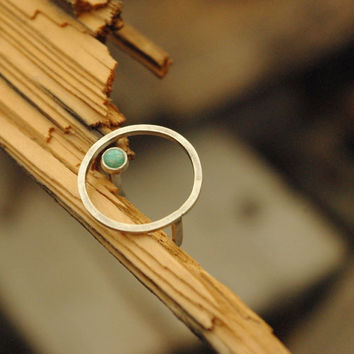 925 sterling silver square wire and levitating 4mm amazonite cabochon  ring, contemporary jewelry, minimalist ring