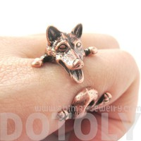 Realistic Husky Puppy Shaped Animal Wrap Ring in Copper | Sizes 6 to 9
