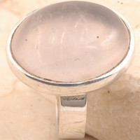 Classy 925 Sterling Silver Rose Quartz Ring