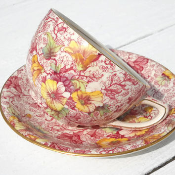 Royal Winton Dorset Tea Cup and Saucer Set -  Vintage Grimwade China - England Tea Cup and Saucer - Fina China Tea Cup