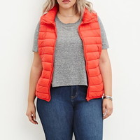 Plus Size Zip-Up Puffer Vest