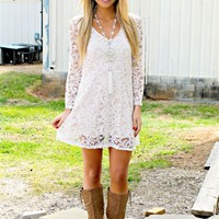 She's In Love Lace Dress - Ivory