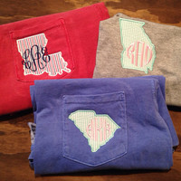COMFORT COLORS State Pride Seersucker Appliqué Personalized Monogrammed Pocket T-shirts