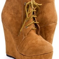 Brown Faux Suede Platform Boots with Lace Up Front