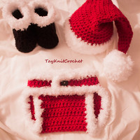 Baby Santa Outfit - Includes Hat, Your choice of the bottoms, and Boots