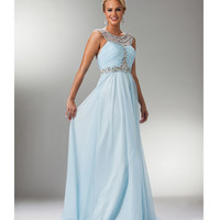 Light Blue Satin & Chiffon Stone Grecian Gown 2015 Homecoming Dresses