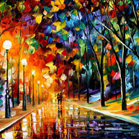 "Romantic Evening — PALETTE KNIFE Abstract Landscape Oil Painting On Canvas By Leonid Afremov - Size: 30""x 24"" from afremov art"