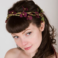 Ophelia Violet Posy Crown w/ Rustic Twining by sweetlittlesparrow
