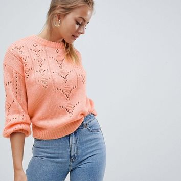 ASOS DESIGN Jumper In Fluffly With Lace Stitch at asos.com