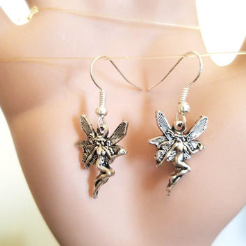 silver fairy charm earrings dangles ear hook handmade simple fantasy jewelry