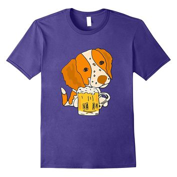 Smilemoretees Funny Brittany Spaniel Drinking Beer T-shirt