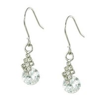 Crystal Pave Leaf With White CZ Diamond Drop Dangle Earrings