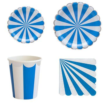 Disposable Tableware Set Blue Stripes Silver Foiled Cup Plate Napkin For Boy Birthday Baby Shower Supply