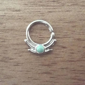 Indian Septum Ring - Tribal Nose Septum Piercing - Or Nipple Piercing Hoop - Turquoise Stone Septum Piercing