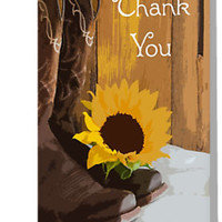 'Country Sunflower Western Wedding Thank You Note' Greeting Card by Lora Severson