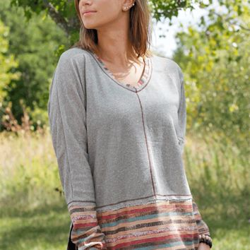 Stripe Contrast Top - Gray
