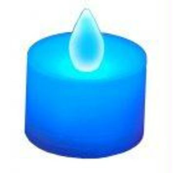 12 Tea Light Candles - Blue With Golden Flame
