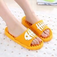 New Massage Lovely Cartoon Women Indoor Slippers Shoes Pattern Fish Bone Slip On Flat Peep Toe Home Bathroom Slippers Pantufas