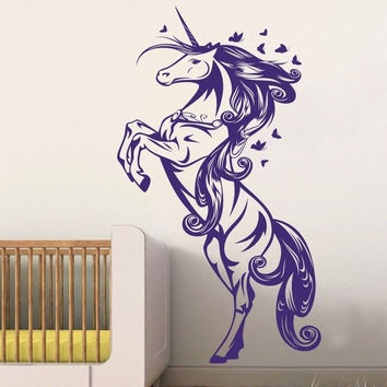 Unicorn Horse Nursery Girls Bedroom Wall Decal Decor Sticker Art Vinyl Wall Stickers For Kids Room Living Room Vinilos Paredes