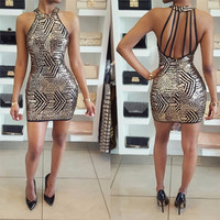 2017 Spring Summer Off shoulder Bodycon Mini Dress Tight pockage hip Sexy Backless sequined Party Club Dresses Vestidos