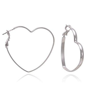 Heart Shaped Gold or Silver Rhodium Plated Hoop Statement Earrings for Womens