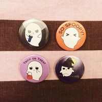Ghostly Bob Ghost Specter Phantom Halloween Dark Kawaii Creepy Cute Goth Scary Spooky Spoopy 4 Piece Flair Button Pin Badge Set