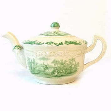 Ridgways Humphrey's Clock Green Transferware Teapot