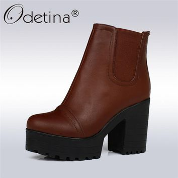Odetina 2017 Thick Heel Ankle Boots Ladies Platform High Heels Shoes Slip On Booties Chunky Heel Casual Winter Shoes Big Size 43