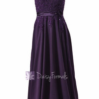 Gorgeous Long Beaded Purple Chiffon Bridesmaid Dress W/Illusion Neckline (BMDK122)