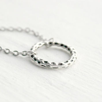 Simple Silver Textured Circle Necklace - Handmade Jewelry - Minimalist Gift Idea - Ready to Ship