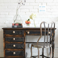 Hand painted black desk with papered drawer fronts: Evadne